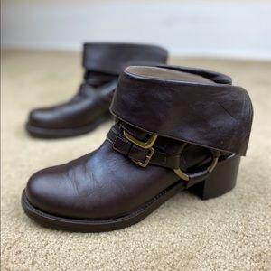 Donald J. Pliner Brown Aleska Buckle Moto Boots 9